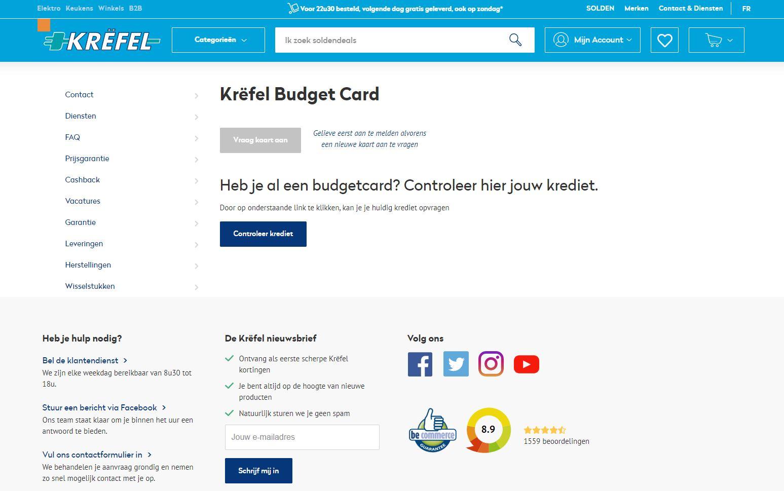 vraag jouw budgetcard aan via krefel;be