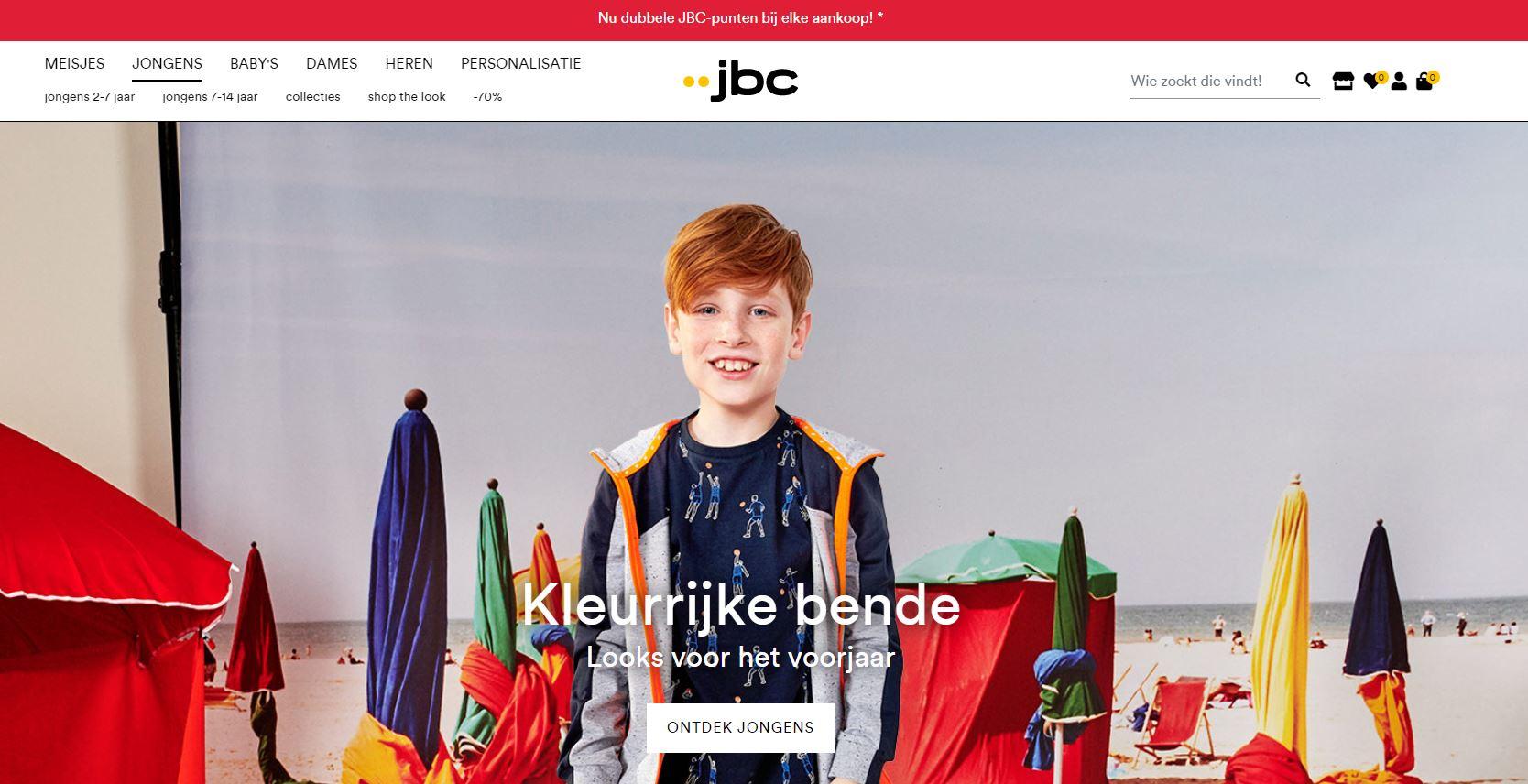 homepage van de webshop van www.jbc