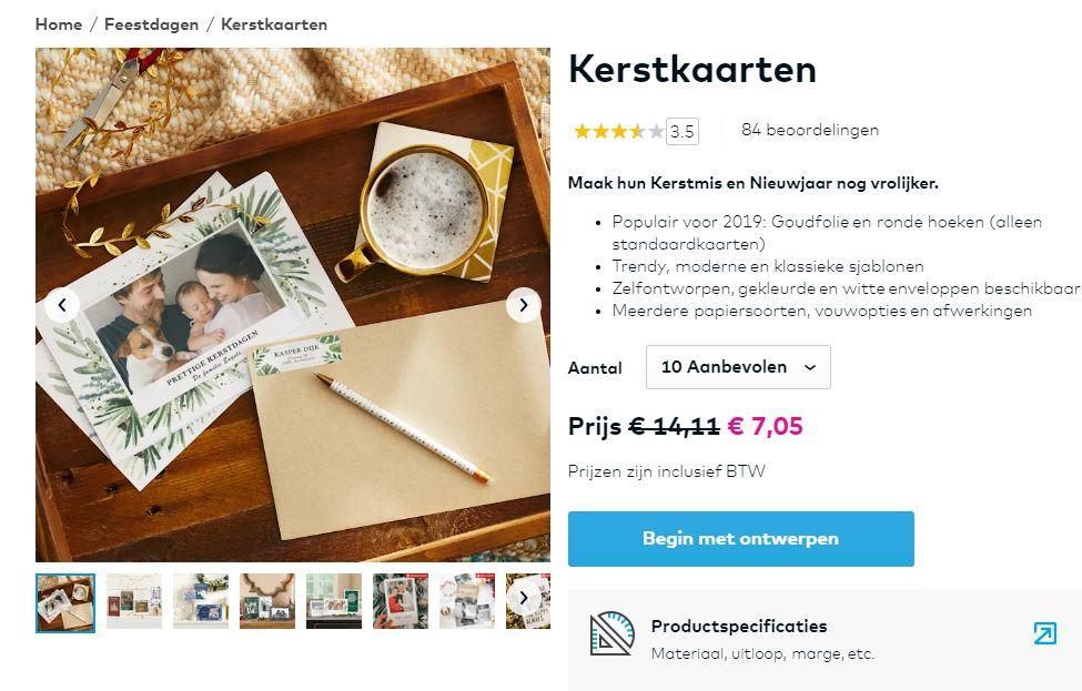 groot aanbod van kerstkaarten bij vistprint
