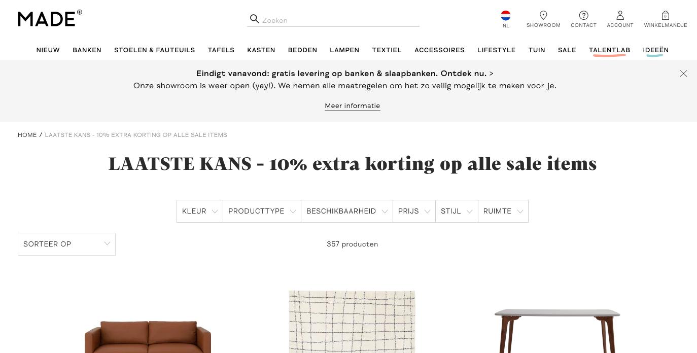 Shop goedkoper tijdens de sale van MADE
