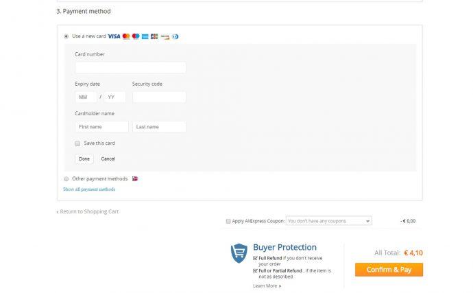Screenshot AliExpress