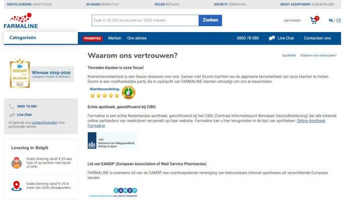 Farmaline betrouwbare webshop pharma line