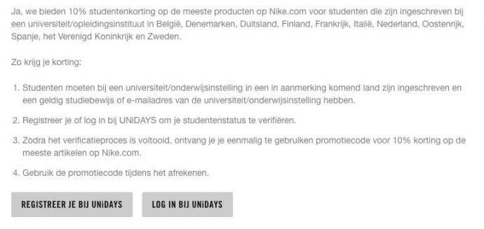 Pak 10% studentenkorting bij Nike