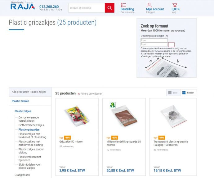 bestel gripzakjes online bij rajapack
