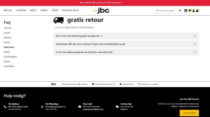retourneer jouw bestelling gratis in één van de winkels van jbc belgium